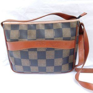 Authentic Vintage Fendi Checkered Brown Crossbody